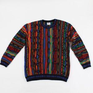 Merino Wool Coogi Style Multi Color Crewneck 3D